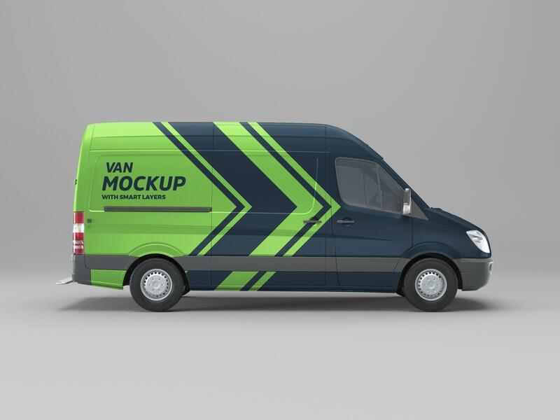 Free Van Side View Mockup