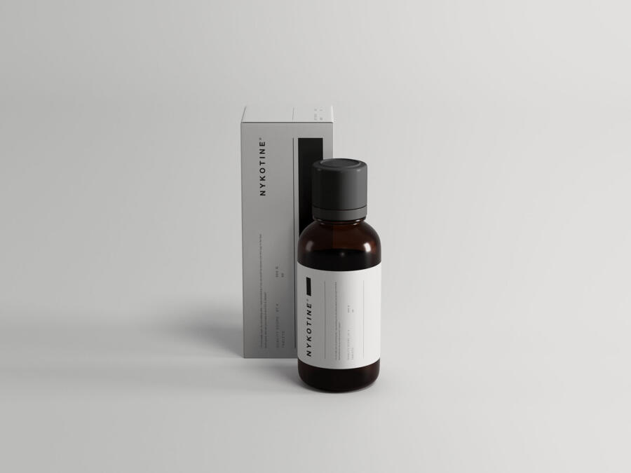 Medicine Bottle & Box Packaging Free Mockup