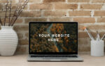 Realistic MacBook Workspace Free Mockup