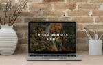 Realistic MacBook Workspace Free Mockup