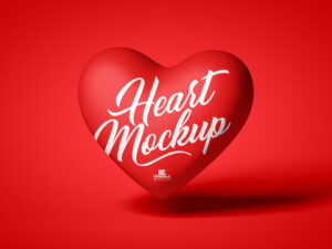Red Love Heart Free Mockup (PSD)