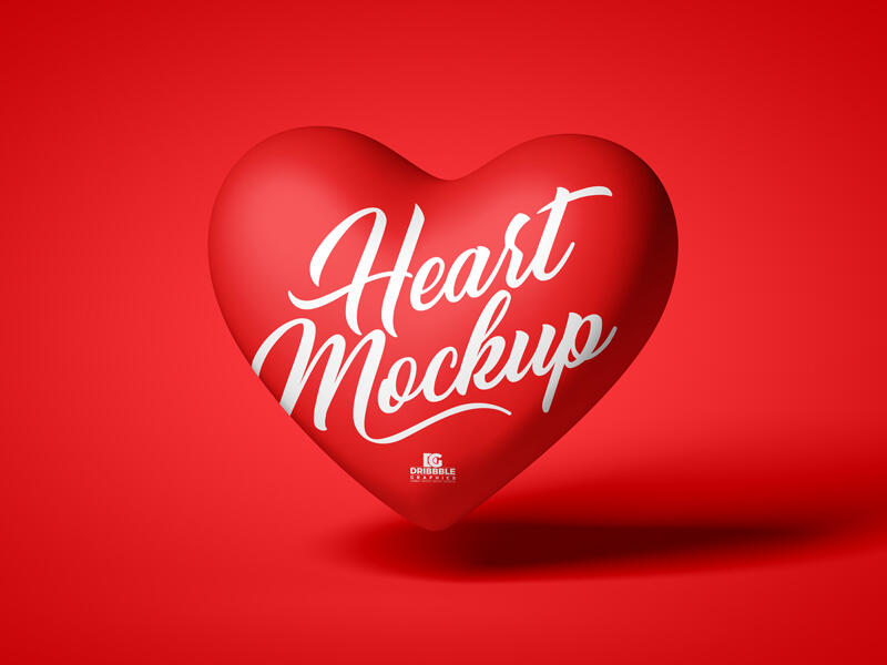 Red Love Heart Free Mockup (PSD)