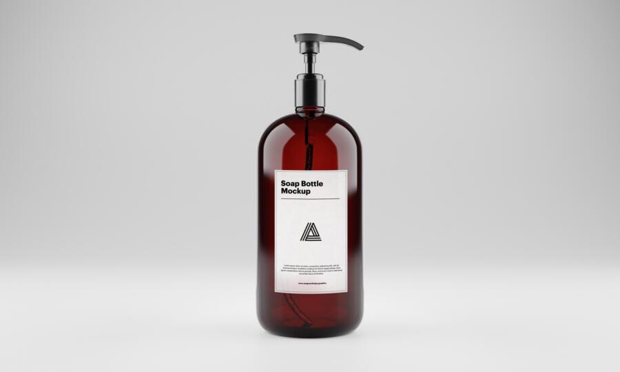 Soap Bottle Free Mockup (PSD)