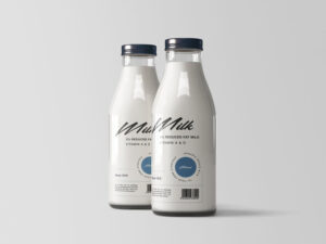 Two Milk Bottles Free Mockup (PSD)