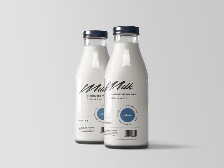 Two Milk Bottles Free Mockup (PSD)