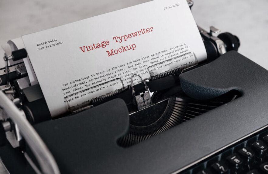 Vintage Typewriter Free Mockup (PSD)