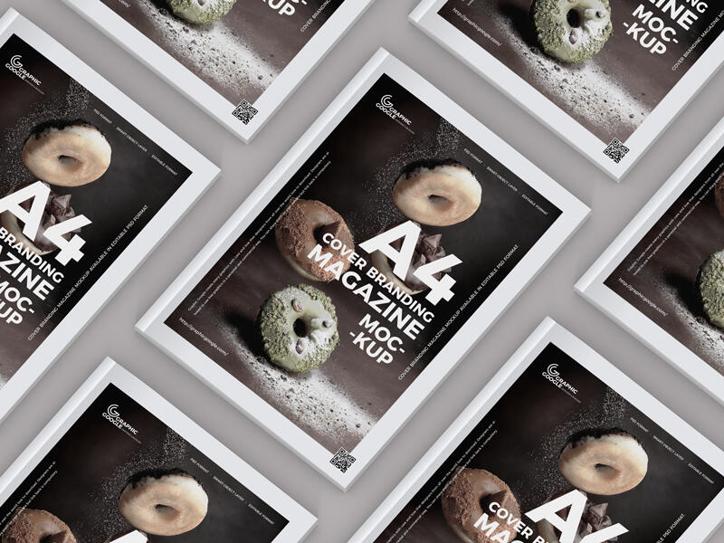A4 Size Cover Branding Magazine Free Mockup