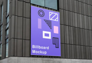 Billboard on Wall Free Mockup (PSD)