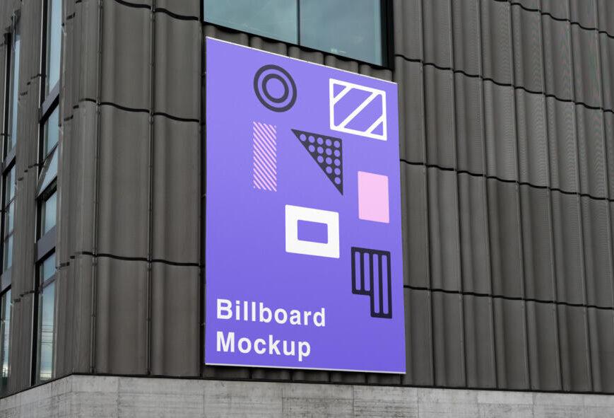 Billboard on Wall Free Mockup (PSD)