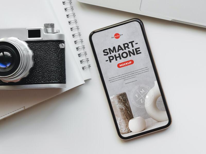 Camera With Smart Phone Free Mockup