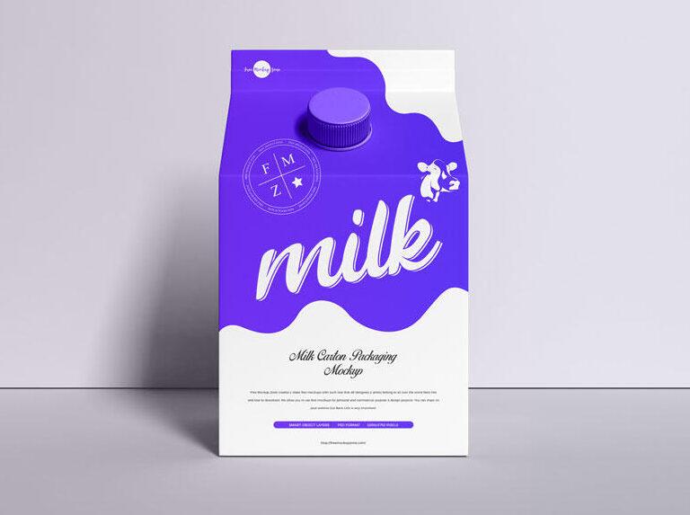 Carton Milk Package Free Mockup