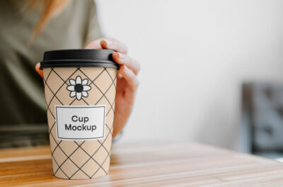 Coffee Cup with Hand Free Mockup