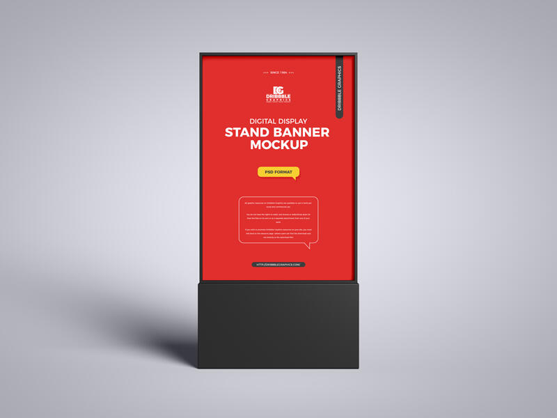 Digital Display Stand Banner Free Mockup