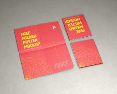 Folded Poster Free Mockup (PSD)