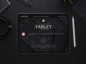 Free Elegant Workplace Tablet Mockup