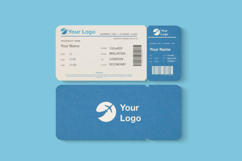 Free Flight Ticket Mockup