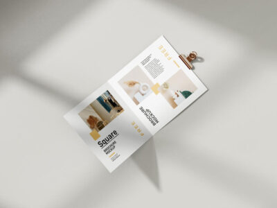 Free Folded Square Brochure Mockup