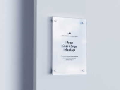Free Glass Sign Mockup (PSD)