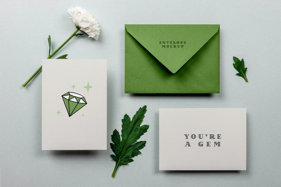 Free Greeting Card & Envelope Mockup (PSD)