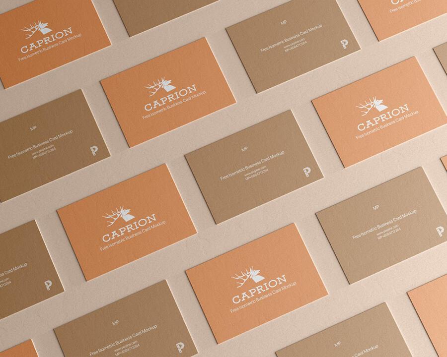 Free Isometric Business Card Mockup (PSD)