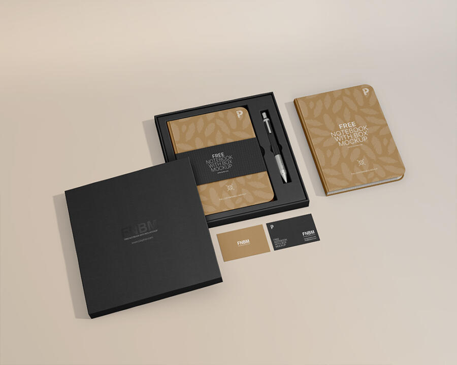 Free Notebook with Box Mockup (PSD)