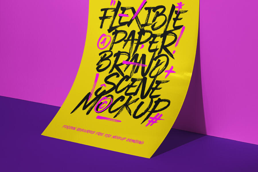 Free Paper Brand Scene Mockup
