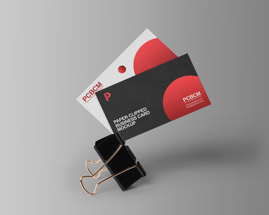 Free Paper Clipped Business Card Mockup