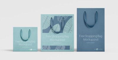 Free Paper Shopping Bag Mockup Set