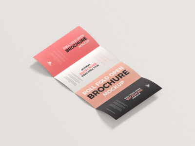 Free Roll Fold Open Brochure Mockup (PSD)
