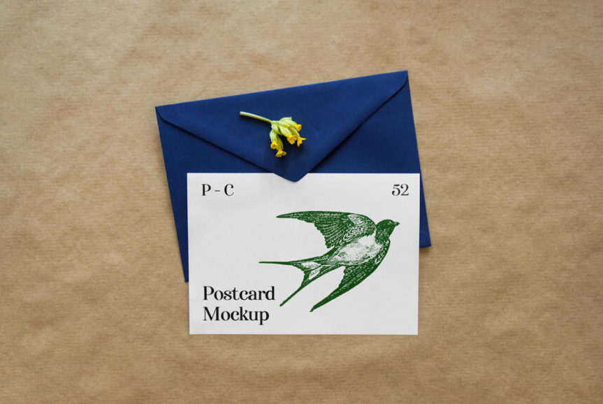 Greeting Card with Envelope Free Mockup