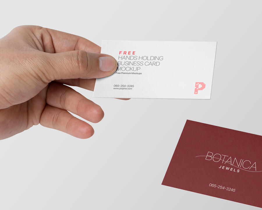 Hands Holding Business Card Free Mockup