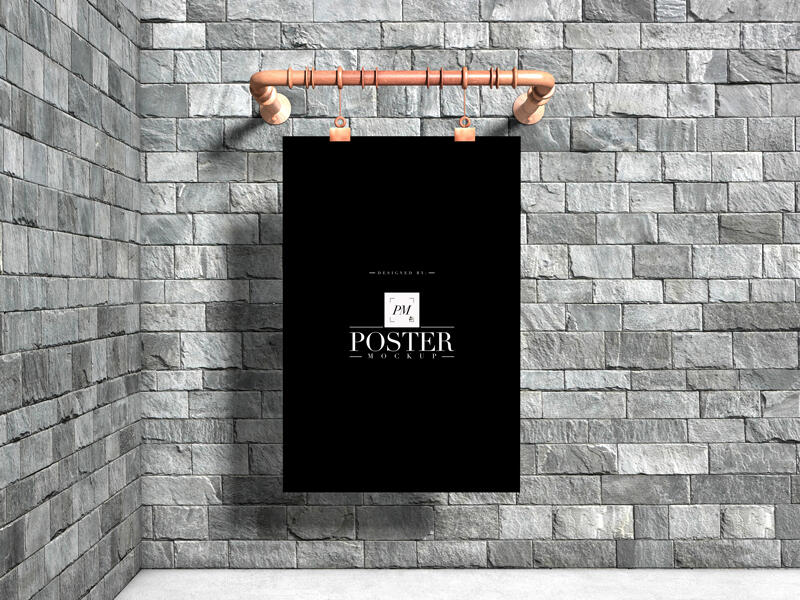 Industrial Advertising Wall Hanging Poster Free Mockup