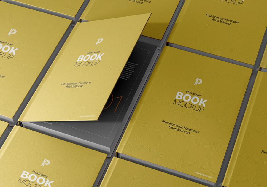 Isometric Hardcover Book Free Mockup