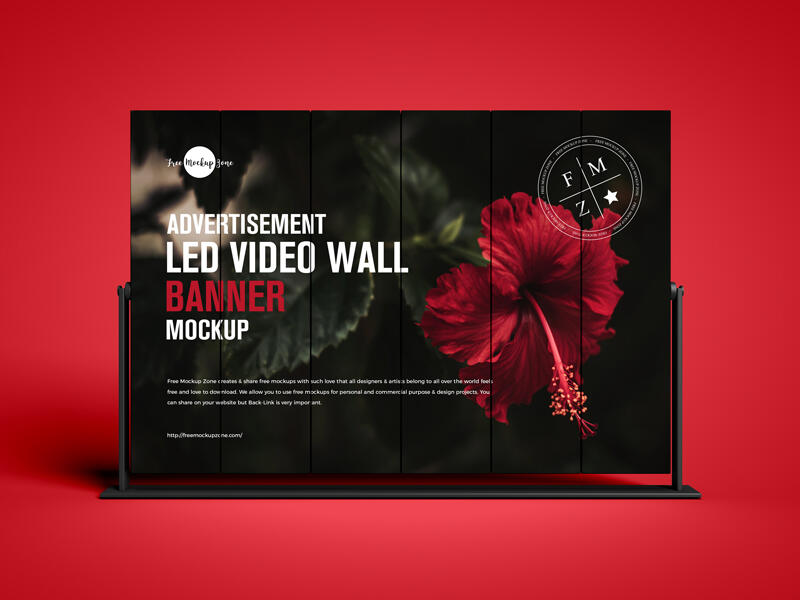 LED Video Wall Banner Free Mockup