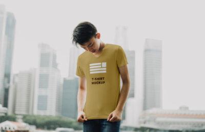 Man Wearing T-Shirt Free Mockup