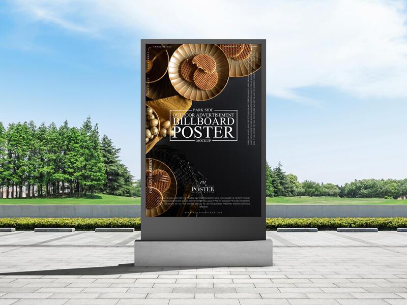 Park Side Outdoor Advertisement Billboard Poster Free Mockup
