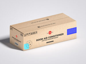 Room Air Conditioner Craft Box Packaging Free Mockup