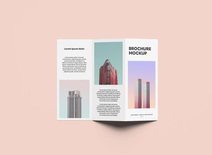 Standing Folded Brochure Free Mockup