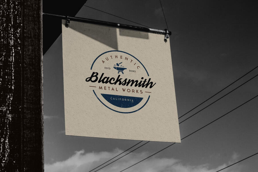Vintage Shop Sign Free Mockup (PSD)