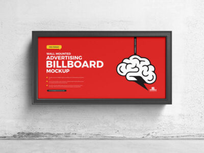 Wall Mounted Advertising Billboard Free Mockup
