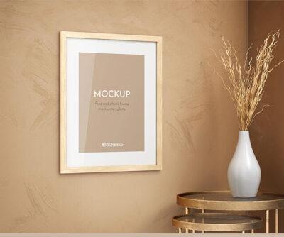 Wooden Photo Frame Free Mockup