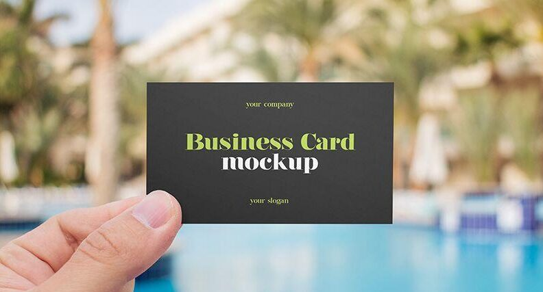 2 Free Hand Holding Business Card Mockups