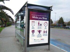 Bus Stop Poster Free Mockup (PSD)