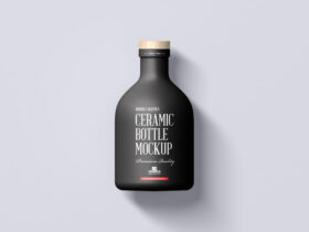 Ceramic Bottle with Wooden Cap Free Mockup