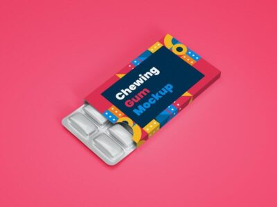Chewing Gum in Blister Packagaging Mockup