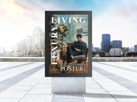 City Outdoor Advertisement Stand Poster Mockup