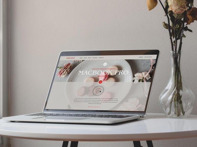 Elegant Website Branding MacBook Pro Free Mockup
