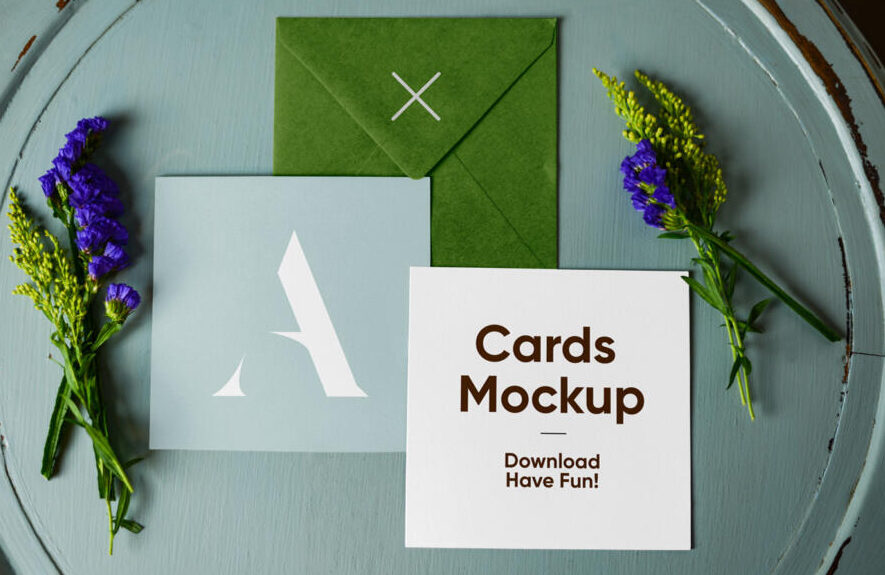 Envelope with Cards Free Mockup (PSD)