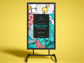Free Brand Promotion Street Stand Banner Mockup