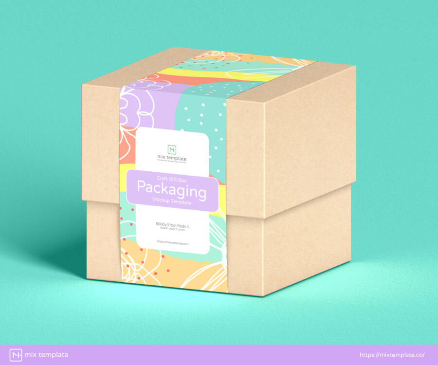 Free Craft Gift Box Packaging Mockup